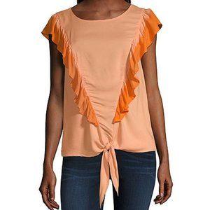 A.N.A. Round Neck Short Sleeve Blouse Size XL